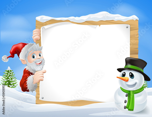 Santa Snowman Cartoon Sign