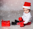 Little boy in christmas clothes