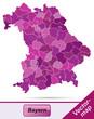 Bayern mit Grenzen in Violett