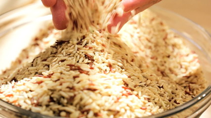 Female Hands Close Up Bowl Dry Cereal Grains
