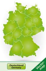 Deutschland mit Grenzen in Grün