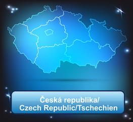 Tschechien mit Grenzen in leuchtend einfarbig