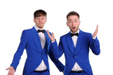 Funny men  dressed in blue suite with different emotions