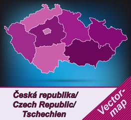 Tschechien mit Grenzen in Violett
