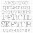 Vector sketched pencil alphabet