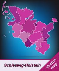 Schleswig-Holstein mit Grenzen in Violett
