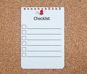 Checklist on Corkboard