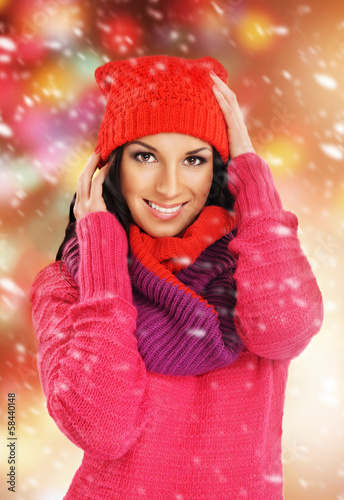 Portrait of a beautiful girl in winter style