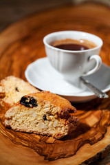 Traditional Italian cantuccini cookies and cup of coffee