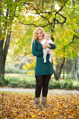 Mother and daughter baby in park