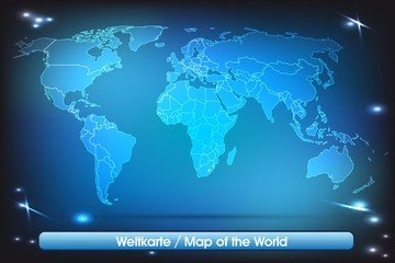 Weltkarte mit Grenzen in leuchtend einfarbig