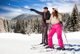 couple with snow skis