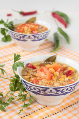 Soup of chickpeas, coconut and tomatoes