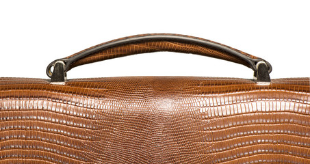 Closeup of brown leather handbag handle