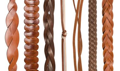 Closeup of various leather belts