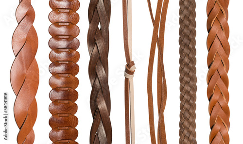 Closeup of various leather belts