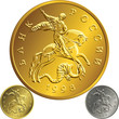 vector gold coin, ruble money Rossian