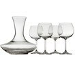 Wine glasses and decanter on white background