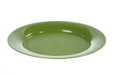Green plastic plate on white background