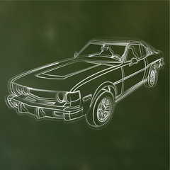 Vector sketched chalk car