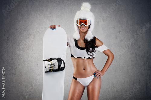 Sexy female snowboarder