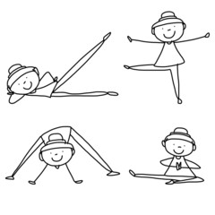 cartoon hand drawing woman practicing yoga