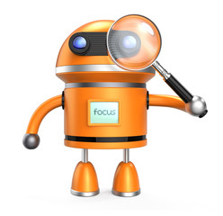 Robot and magnifying glass on white.clipping path available