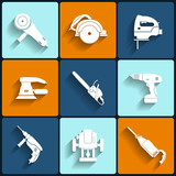 Electric tool flat vector icons set