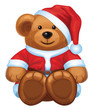 Vector of cute brown bear in red Santa's costume isolated.