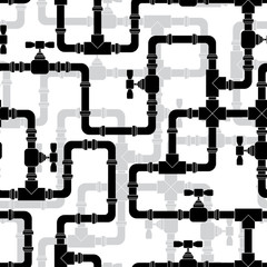Seamless pattern with water pipeline.