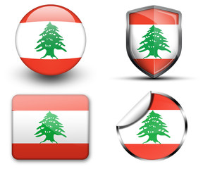 Lebanon flag button sticker and badge