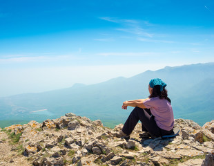 Woman hiker enjoys the view