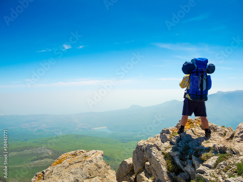 Backpacker enjoys the view
