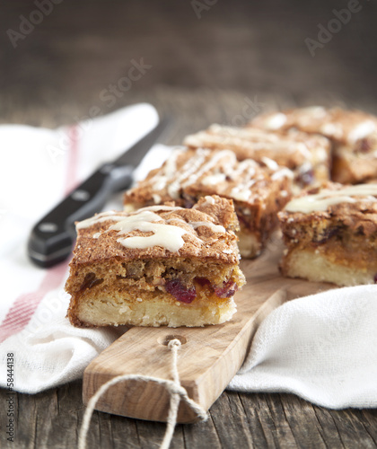Cranberry, white chocolate and pecan squares