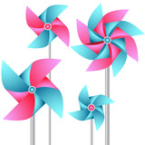 Vector set of paper weather vanes in pink and blue