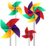Vector set of paper weather vanes in vivid colors