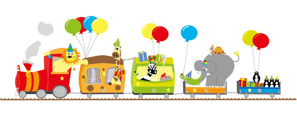 animals party train - vector illustration