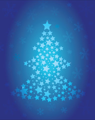 Christmas tree of stars blue
