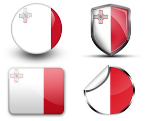 Malta flag button sticker and badge