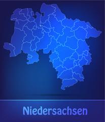 Niedersachsen mit Grenzen in einfarbig Scribble