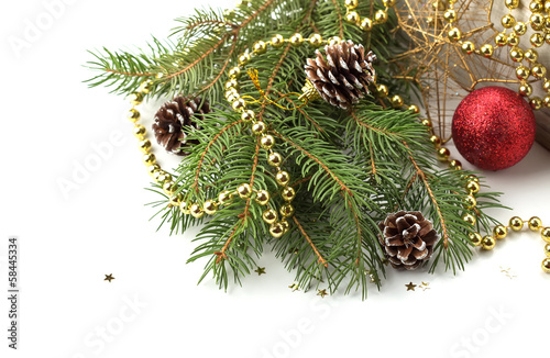 Spruce with decorations on white background.