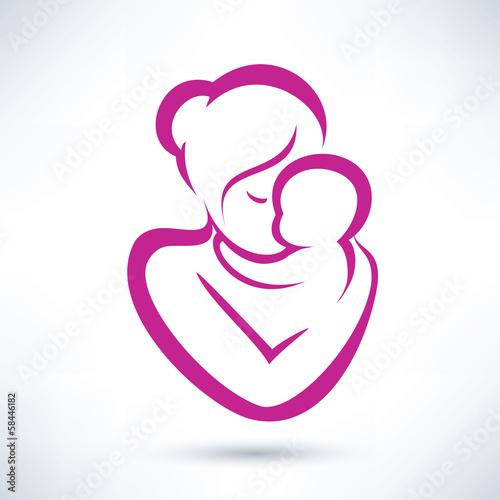 Fototapeta mom and baby vector icon