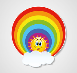 vector icon of rainbow, sun and cloud