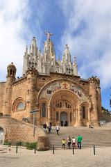 Temple on mountain top Tibidabo in Barcelona
