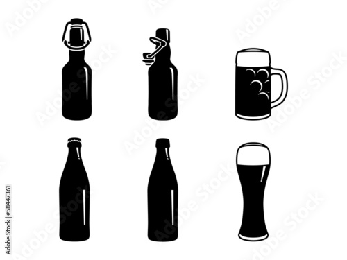 beer bottles and beer glasses