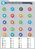 Flat organizer elements icon set