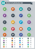 Flat e-book icon set