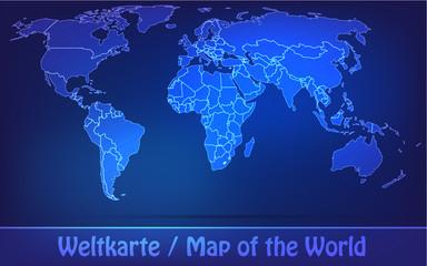 Weltkarte mit Grenzen in einfarbig Scribble