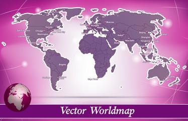 Weltkarte Abstrakter Hintergrund in Violett