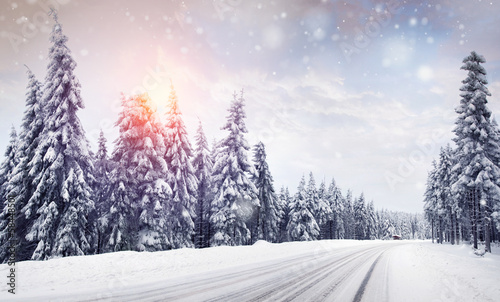 canvas print picture Winter - schneefall